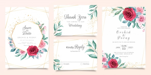 Elegant wedding invitation card template set with burgundy and peach watercolor flowers