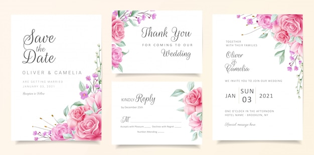 Elegant wedding invitation card template set with floral border arrangements