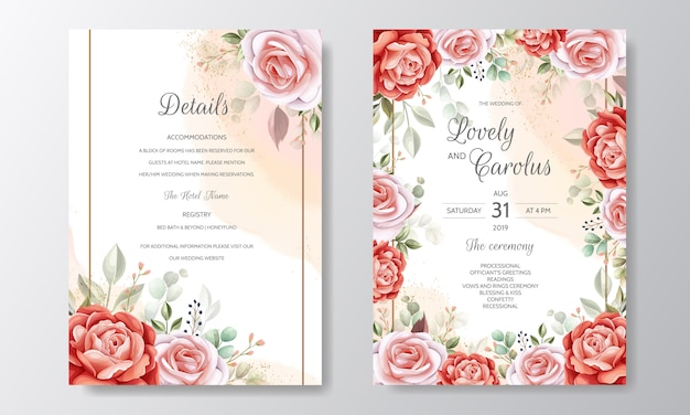 Elegant wedding invitation card template set with floral decoration