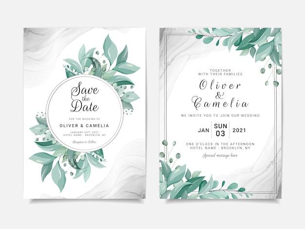 花のフレームと銀の流体の背景を持つエレガントな結婚式の招待カードテンプレートセット