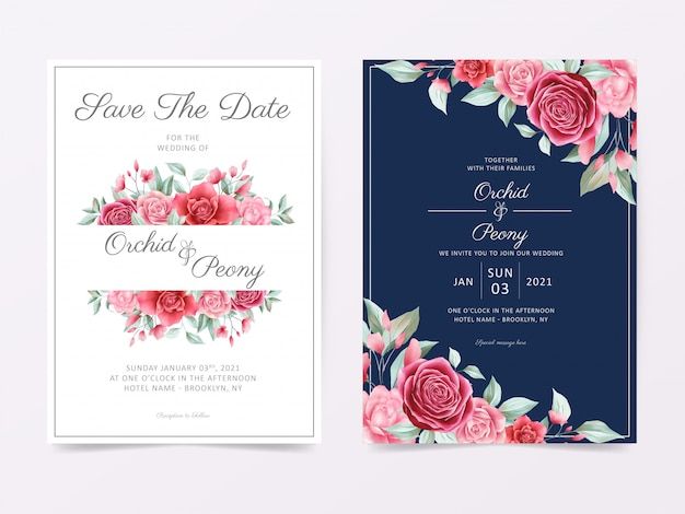 Elegant wedding invitation card template set with floral frame and border decoration