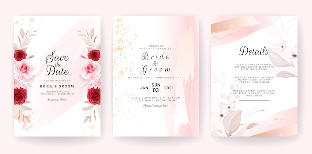Elegant  wedding invitation card template set with floral and gold watercolor decoration