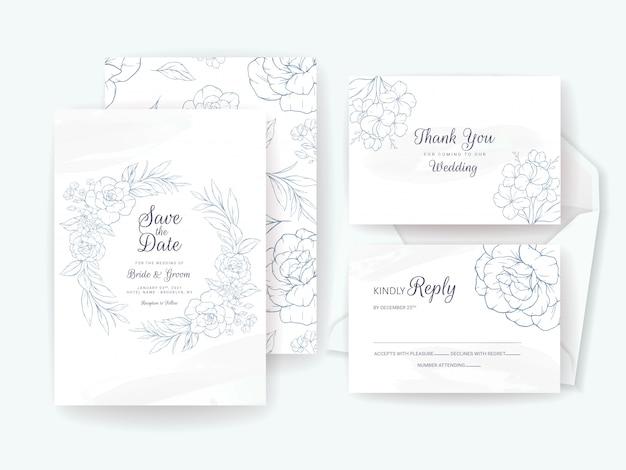 花をモチーフにしたエレガントな結婚式の招待カードテンプレート。日付、挨拶、rsvp、およびありがとうデザインを保存するための花の構成