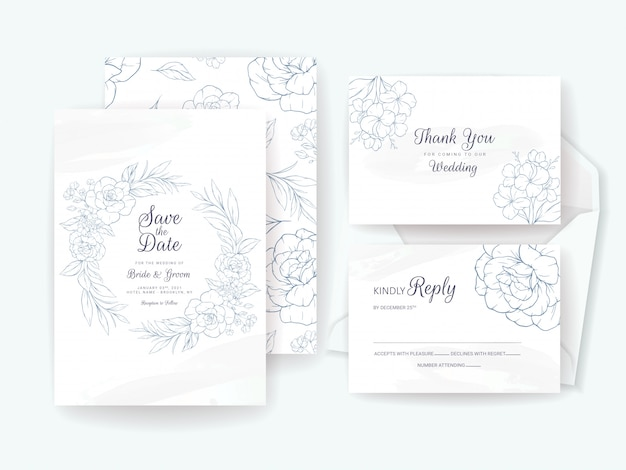 Elegant wedding invitation card template set with floral motif. flowers composition for save the date, greeting, rsvp, and thank you design