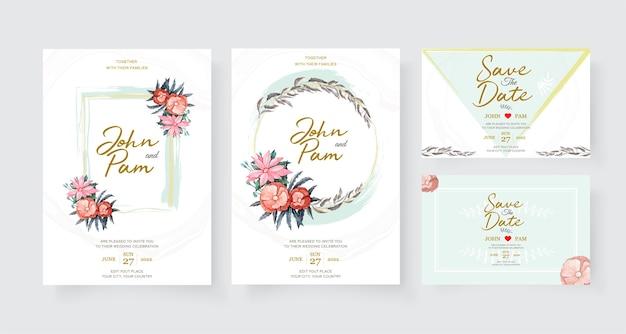 Modello di carta di invito matrimonio elegante con decorazioni floreali.