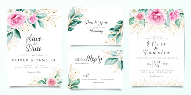 Elegant wedding invitation card template set with flowers decoration and outlined glitter leaves