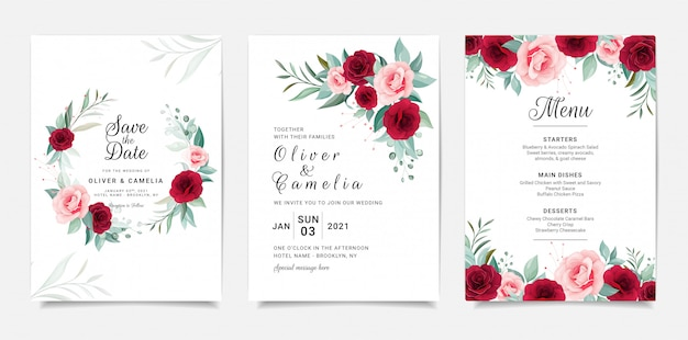 Elegant wedding invitation card template set with flowers decoration