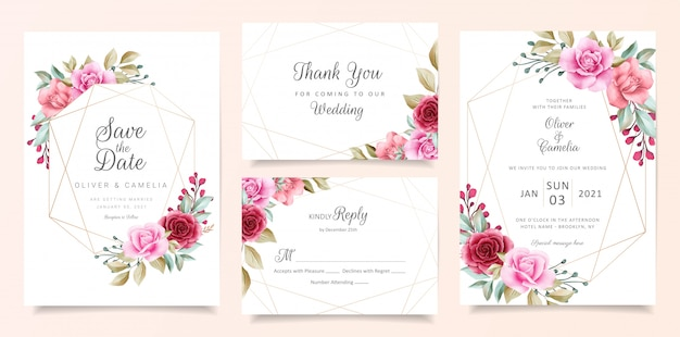 Elegant wedding invitation card template set with geometric floral frame
