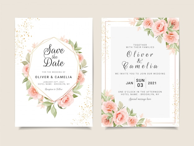 Elegant wedding invitation card template set with gold floral frame and glitter