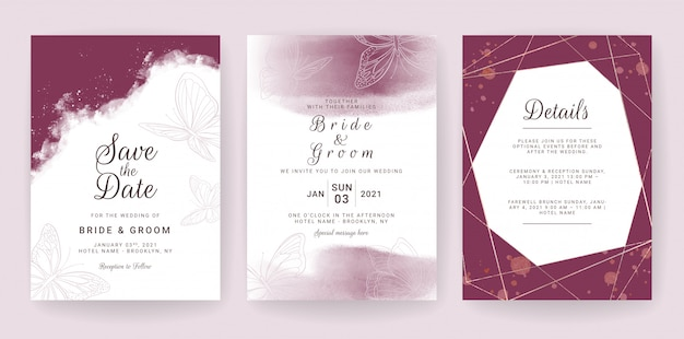 Изящный свадебный шаблон пригласительного билета установлен с художественным оформлением бордового и бабочек.