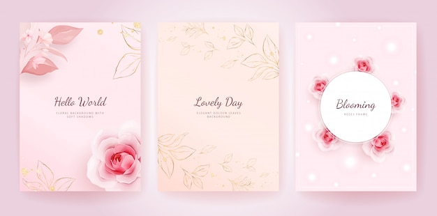 Elegant wedding invitation card template set with peach roses and golden leaves