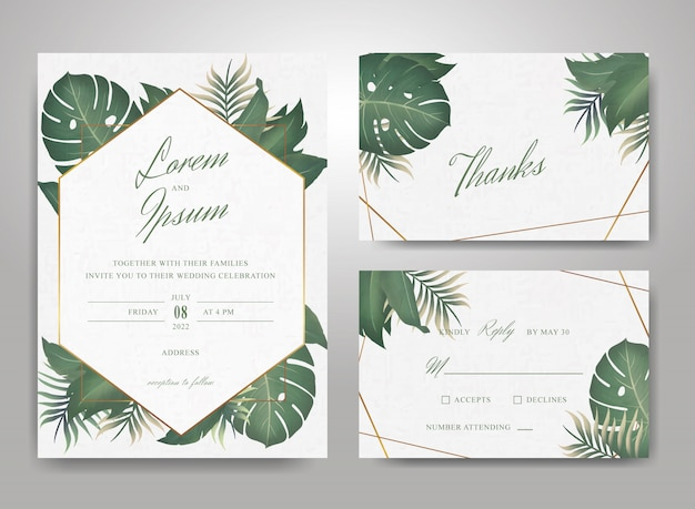 Elegant wedding invitation card template set with tropical leaves and watercolor splash background