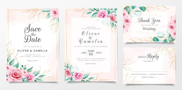 Elegant wedding invitation card template set with watercolor floral and gold glitter decoration