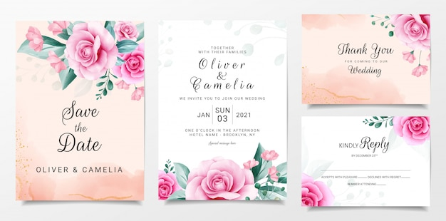 Elegant wedding invitation card template set with watercolor flowers arrangements