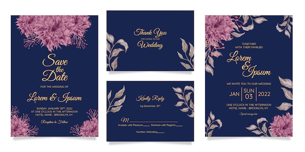 Elegant wedding invitation card template set with watercolor flowers decor