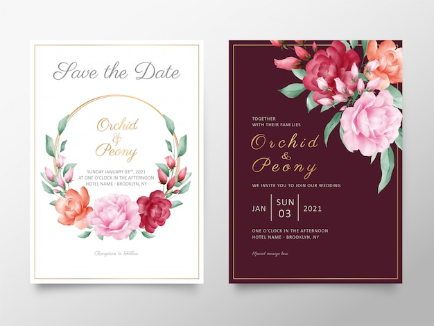 Elegant wedding invitation card template set with watercolor roses and peonies flowers