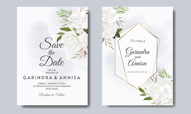 Элегантный шаблон свадебного приглашения с белыми цветами и листьями