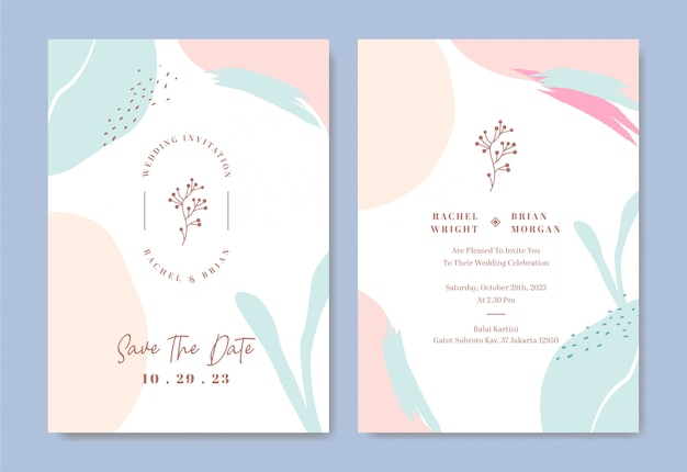 Elegant wedding invitation card template with abstract brush stroke and shapes water color