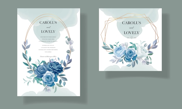 美しい青い花のフレームを持つエレガントな結婚式の招待カードテンプレート