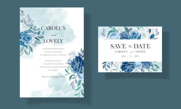 Элегантный шаблон свадебного приглашения с красивой синей цветочной рамкой