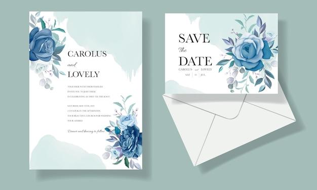 아름 다운 푸른 꽃 프레임 우아한 결혼식 초대 카드 템플릿