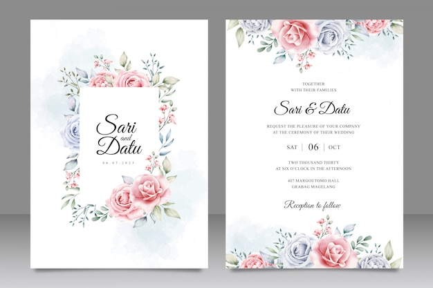 Elegant wedding invitation card template with beautiful floral watercolor