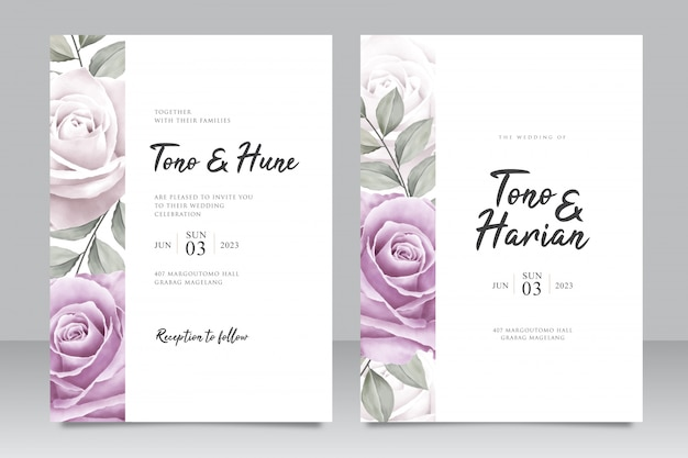 Elegant wedding invitation card template with beautiful purple roses flowers