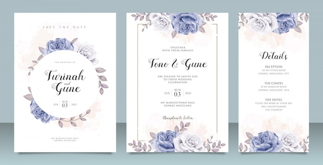 Elegant wedding invitation card template with blue peonies watercolor
