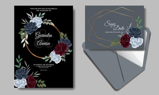 花とエレガントな結婚式の招待カードテンプレートとネイビーブルーの葉