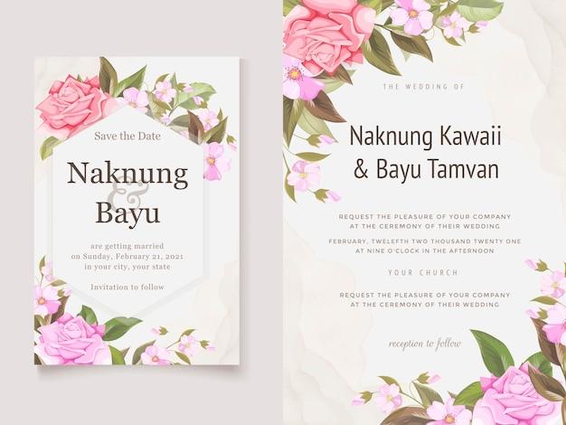 花と葉のエレガントな結婚式の招待カードテンプレート