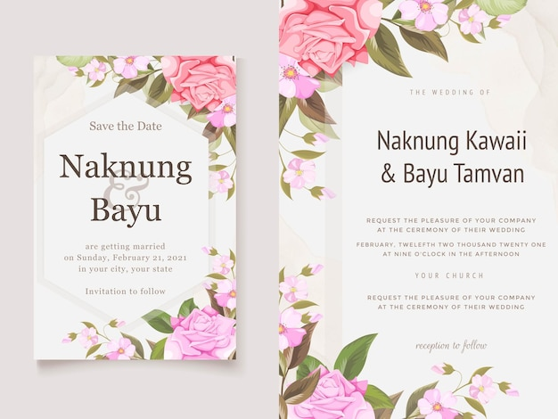 Elegant wedding invitation card template with floral and leaves