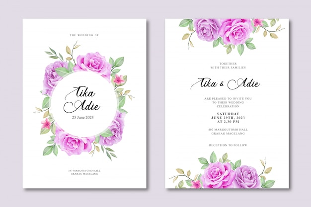 Elegant wedding invitation card template with floral watercolor