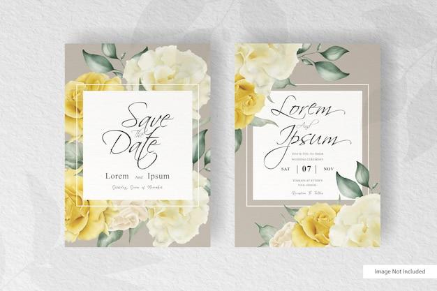 Элегантный шаблон свадебного приглашения карты с цветком и листьями