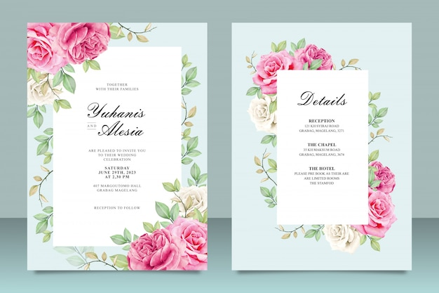 Elegant wedding invitation card template with flowers and leaves