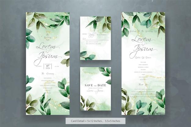 Элегантный шаблон свадебного приглашения с рисованной листвой
