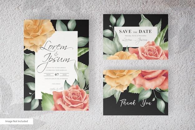 손으로 그린 꽃과 잎 우아한 결혼식 초대 카드 템플릿