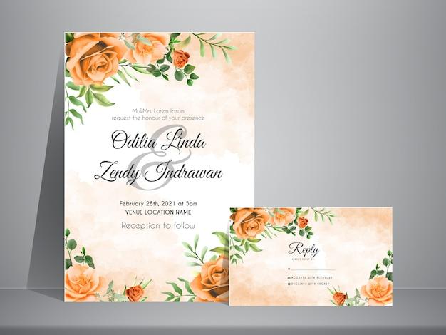 Elegant wedding invitation card template with orange roses watercolor