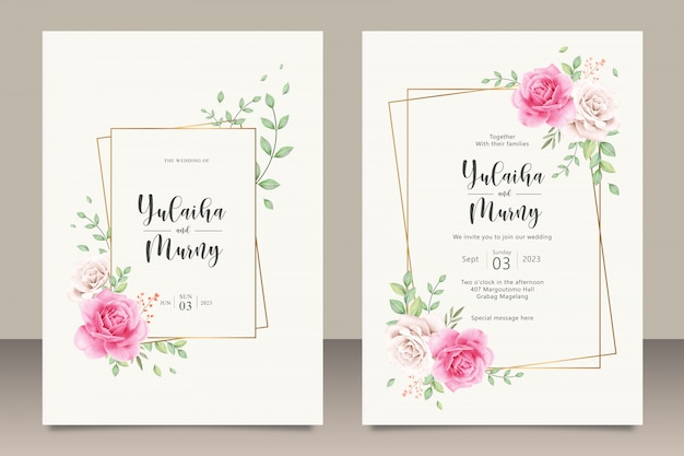 Elegant wedding invitation card template with pink roses flowers