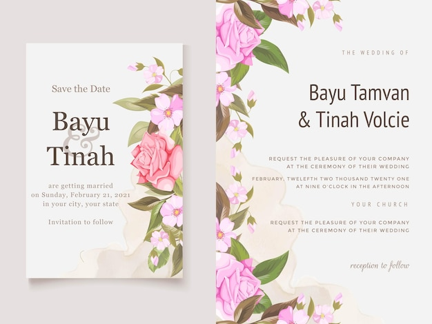 バラと葉のエレガントな結婚式の招待カードテンプレート