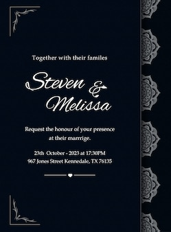 Elegant wedding invitation card template with silver mandala