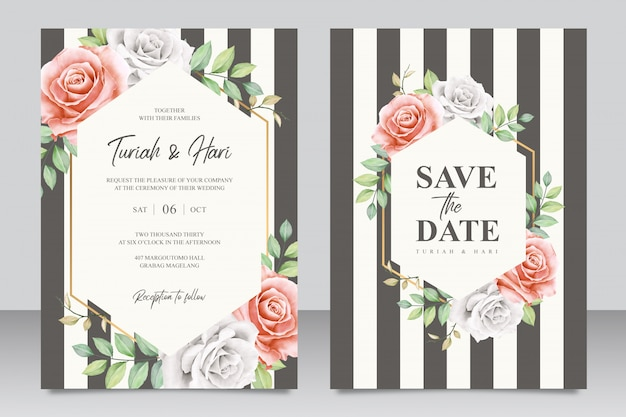 Elegant wedding invitation card template with stripes
