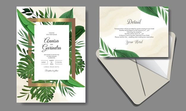 Elegant wedding invitation card template with tropical leaves