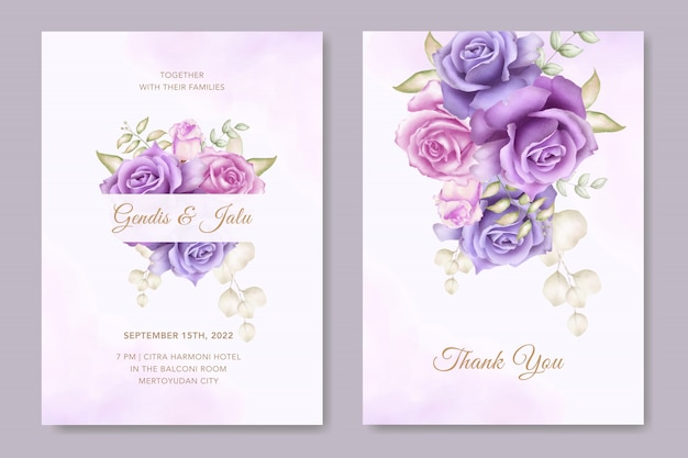 Elegant wedding invitation card template with watercolor flowers decor