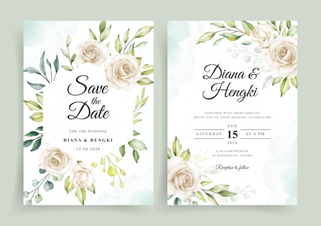 Elegant wedding invitation card template with white floral watercolor