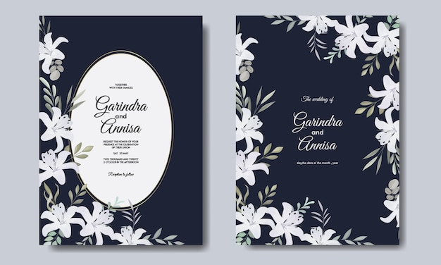 Elegant wedding invitation card template with  white flower navy blue premium vektor