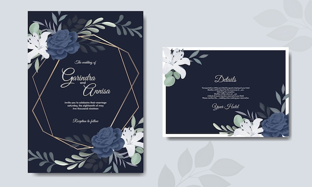 Elegant wedding invitation card template with  white flower navy blue