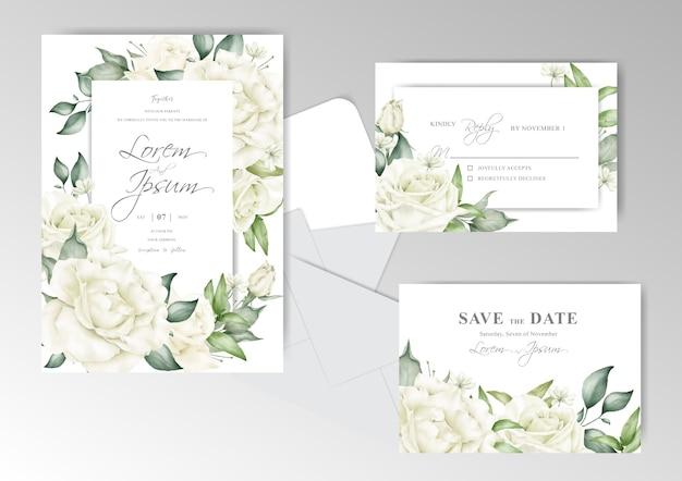 エレガントな結婚式の招待カードのテンプレート Premiumベクター