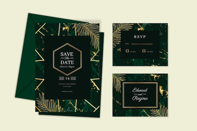 エレガントな結婚式の招待カードテンプレート
