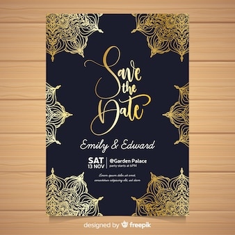 Elegant wedding invitation card template