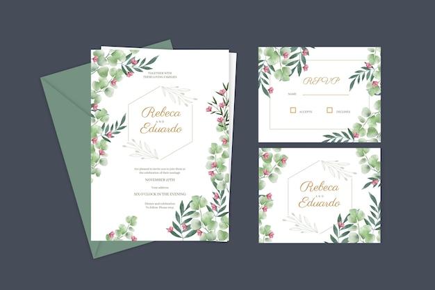 Elegante modello di biglietto d'invito per matrimonio